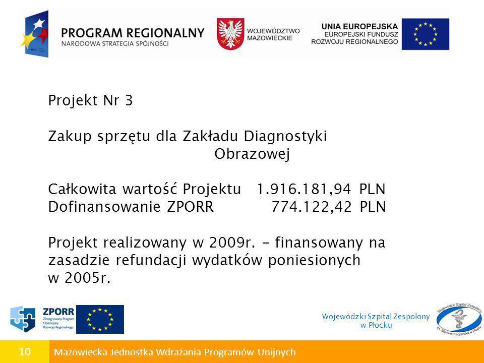 10 Mazowiecka Jednostka Wdrażania Programów Unijnych Projekt Nr 3 Zakup sprzętu dla Zakładu Diagnostyki Obrazowej Całkowita wartość Projektu 1.916.181