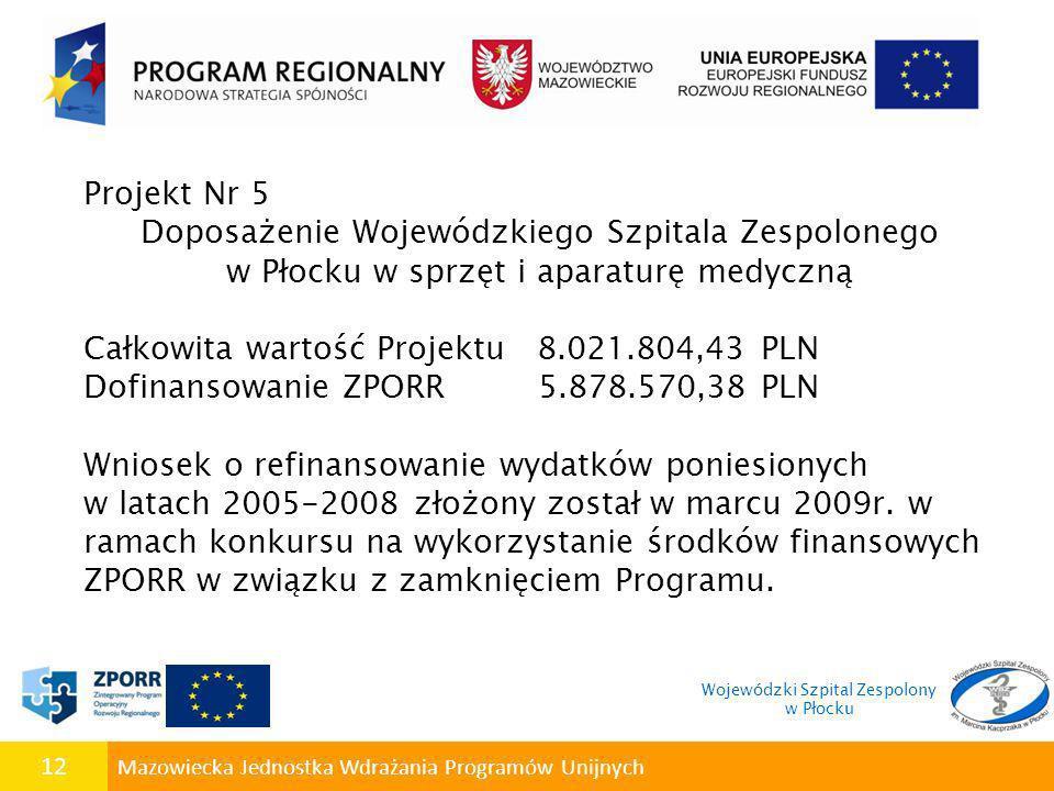 12 Mazowiecka Jednostka Wdrażania Programów Unijnych Projekt Nr 5 Doposażenie Wojewódzkiego Szpitala Zespolonego w Płocku w sprzęt i aparaturę medyczn