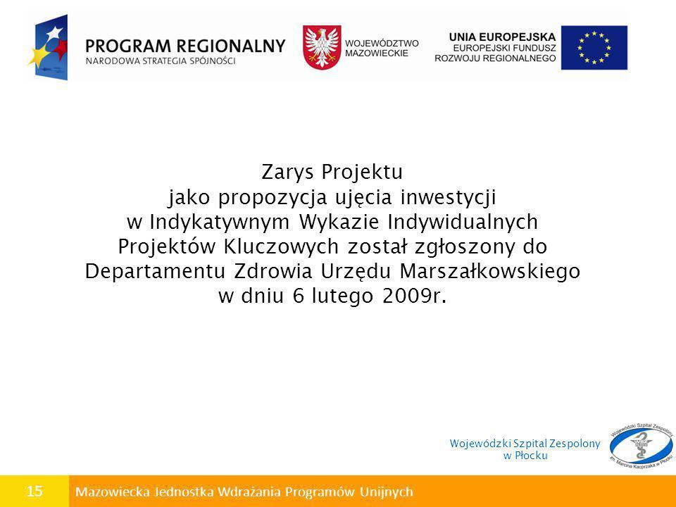 15 Mazowiecka Jednostka Wdrażania Programów Unijnych Zarys Projektu jako propozycja ujęcia inwestycji w Indykatywnym Wykazie Indywidualnych Projektów