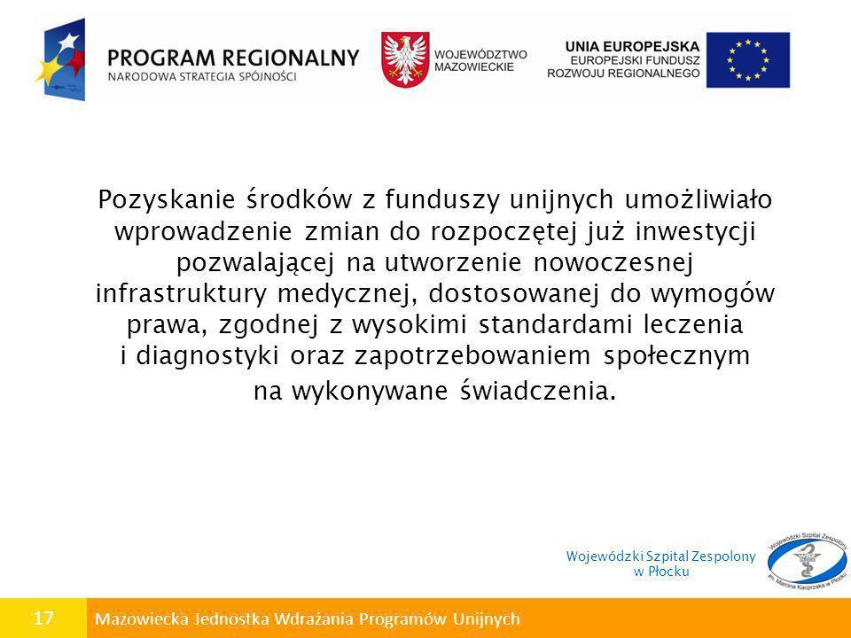 17 Mazowiecka Jednostka Wdrażania Programów Unijnych Pozyskanie środków z funduszy unijnych umożliwiało wprowadzenie zmian do rozpoczętej już inwestyc