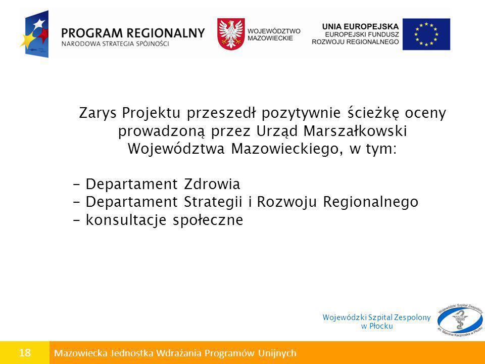 18 Mazowiecka Jednostka Wdrażania Programów Unijnych Zarys Projektu przeszedł pozytywnie ścieżkę oceny prowadzoną przez Urząd Marszałkowski Województw