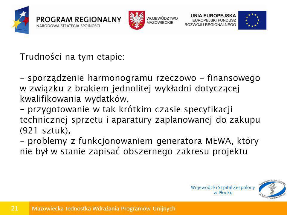 21 Mazowiecka Jednostka Wdrażania Programów Unijnych Trudności na tym etapie: - sporządzenie harmonogramu rzeczowo - finansowego w związku z brakiem j