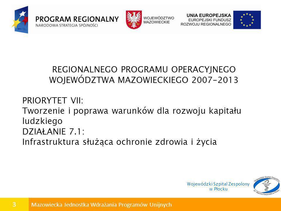 4 Mazowiecka Jednostka Wdrażania Programów Unijnych Doświadczenia w realizacji projektów współfinansowanych z funduszy unijnych Wojewódzki Szpital Zespolony w Płocku