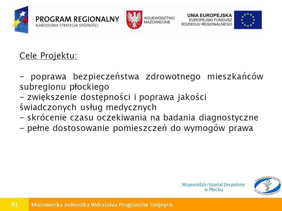 31 Mazowiecka Jednostka Wdrażania Programów Unijnych Cele Projektu: - poprawa bezpieczeństwa zdrowotnego mieszkańców subregionu płockiego - zwiększeni