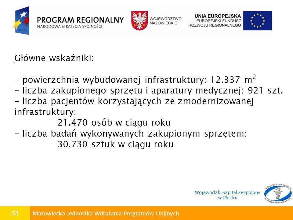 33 Mazowiecka Jednostka Wdrażania Programów Unijnych Główne wskaźniki: - powierzchnia wybudowanej infrastruktury: 12.337 m 2 - liczba zakupionego sprz