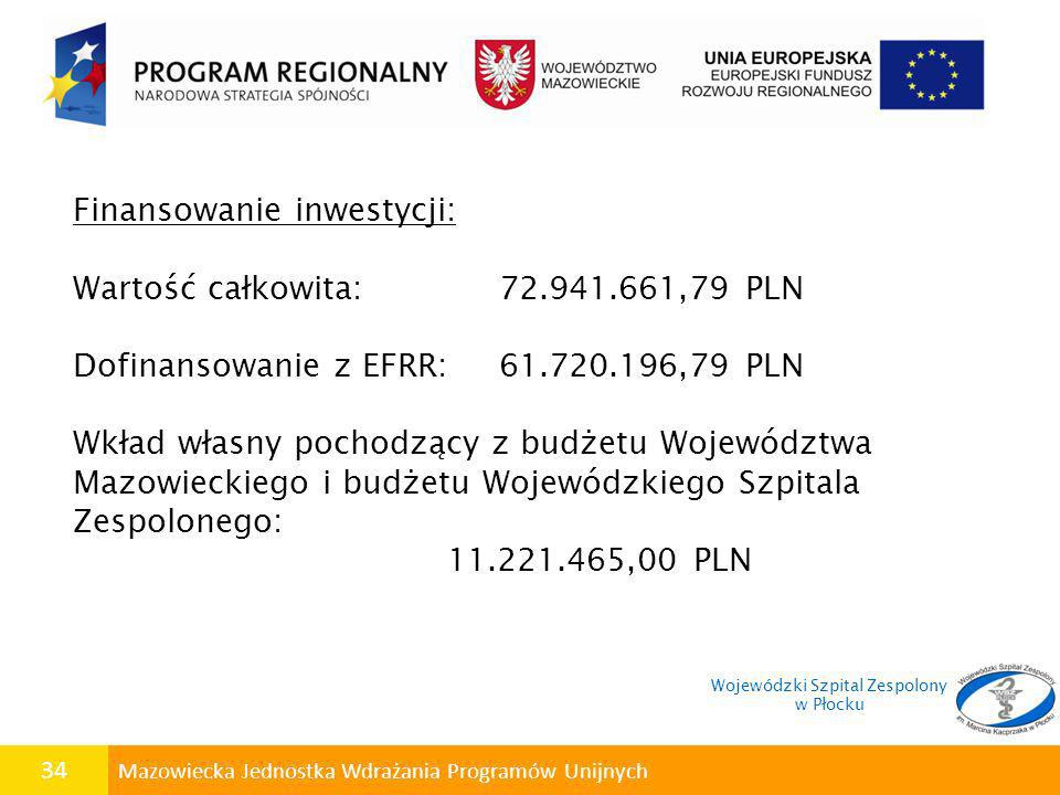34 Mazowiecka Jednostka Wdrażania Programów Unijnych Finansowanie inwestycji: Wartość całkowita: 72.941.661,79 PLN Dofinansowanie z EFRR: 61.720.196,7