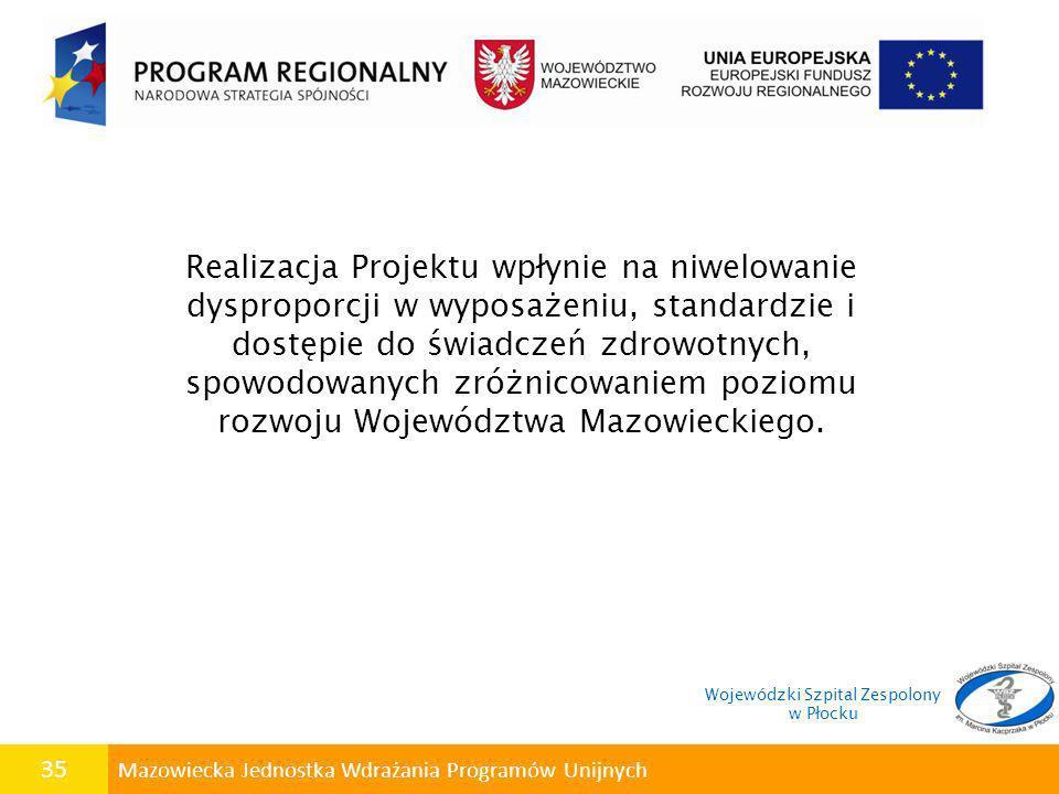 35 Mazowiecka Jednostka Wdrażania Programów Unijnych Realizacja Projektu wpłynie na niwelowanie dysproporcji w wyposażeniu, standardzie i dostępie do