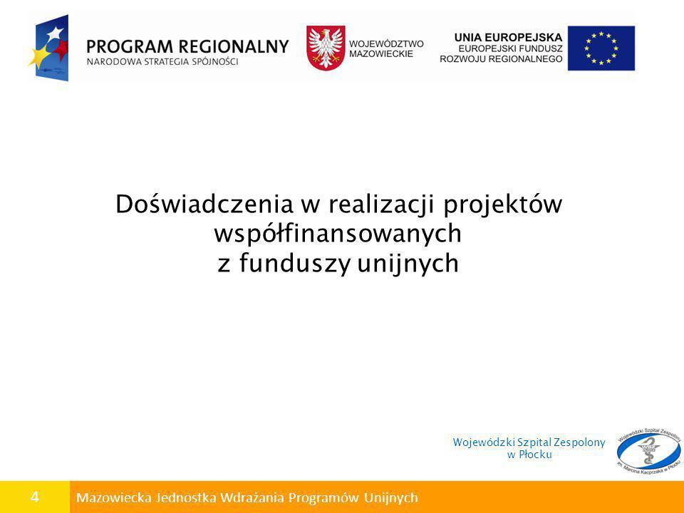 5 Mazowiecka Jednostka Wdrażania Programów Unijnych Wojewódzki Szpital Zespolony w Płocku jest Beneficjentem Projektów współfinansowanych z funduszy strukturalnych w ramach programów: Wojewódzki Szpital Zespolony w Płocku