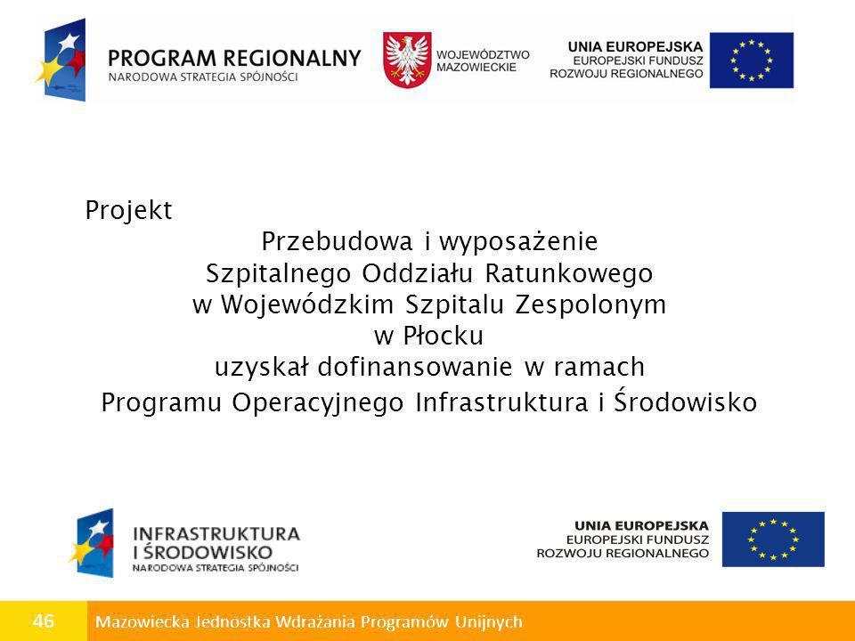 46 Mazowiecka Jednostka Wdrażania Programów Unijnych Projekt Przebudowa i wyposażenie Szpitalnego Oddziału Ratunkowego w Wojewódzkim Szpitalu Zespolon