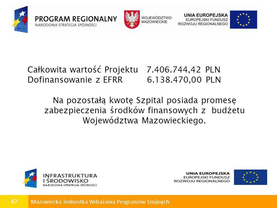 47 Mazowiecka Jednostka Wdrażania Programów Unijnych Całkowita wartość Projektu 7.406.744,42 PLN Dofinansowanie z EFRR 6.138.470,00 PLN Na pozostałą k