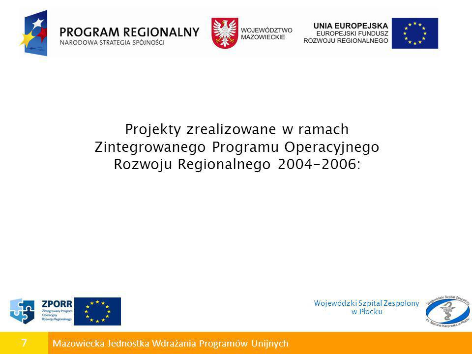 7 Mazowiecka Jednostka Wdrażania Programów Unijnych Projekty zrealizowane w ramach Zintegrowanego Programu Operacyjnego Rozwoju Regionalnego 2004-2006