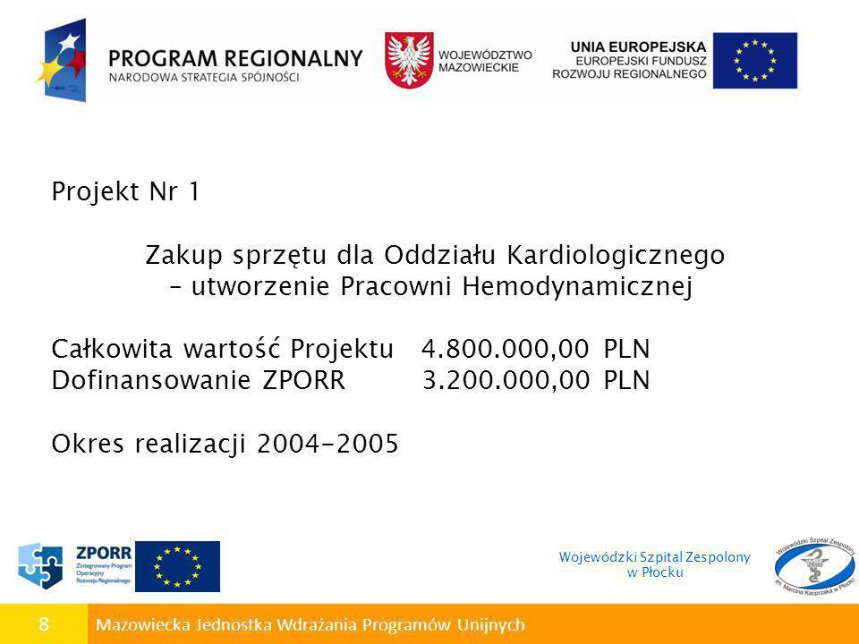 9 Mazowiecka Jednostka Wdrażania Programów Unijnych Projekt Nr 2 Poprawa wyposażenia sal operacyjnych w sprzęt i aparaturę medyczną Całkowita wartość Projektu 689.869,66 PLN Dofinansowanie ZPORR 488.319,19 PLN Projekt realizowany w 2009r.