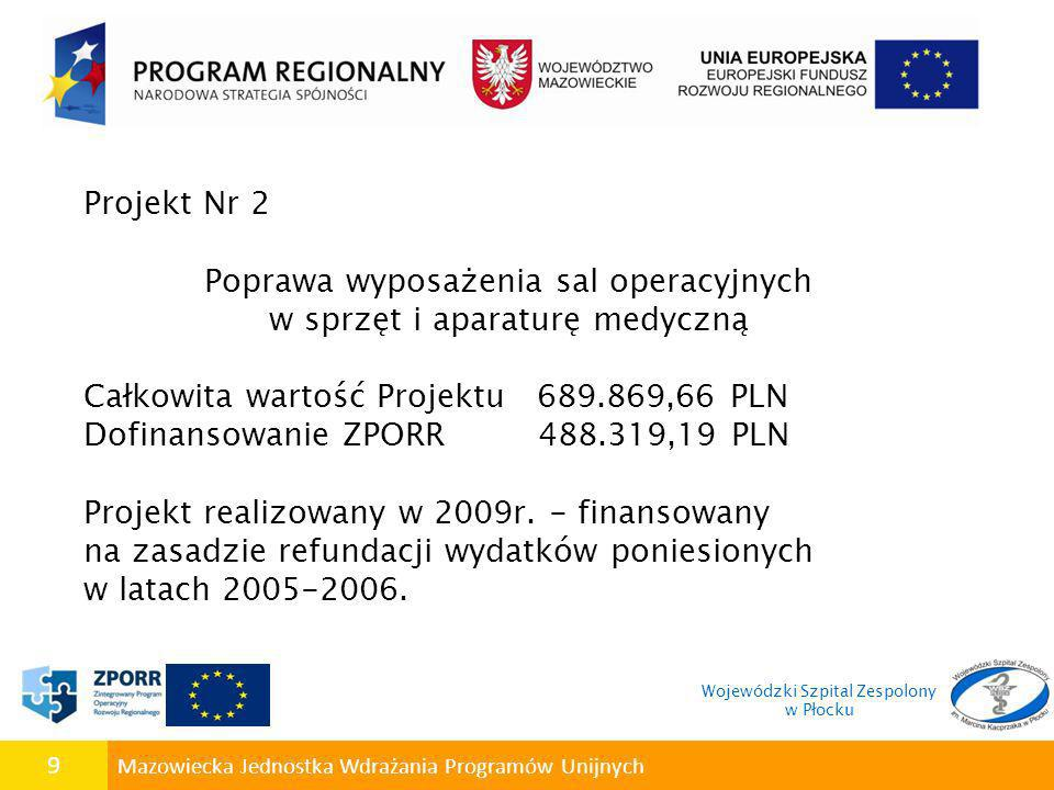 9 Mazowiecka Jednostka Wdrażania Programów Unijnych Projekt Nr 2 Poprawa wyposażenia sal operacyjnych w sprzęt i aparaturę medyczną Całkowita wartość