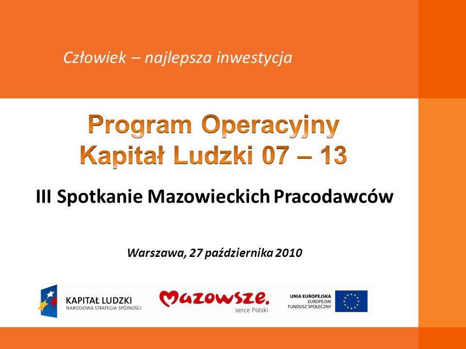 III Spotkanie Mazowieckich Pracodawców Warszawa, 27 października 2010 Człowiek – najlepsza inwestycja