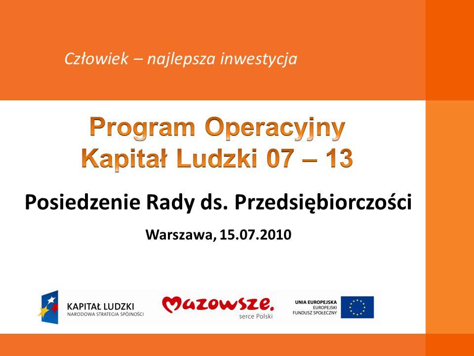 Posiedzenie Rady ds. Przedsiębiorczości Warszawa, 15.07.2010 Człowiek – najlepsza inwestycja
