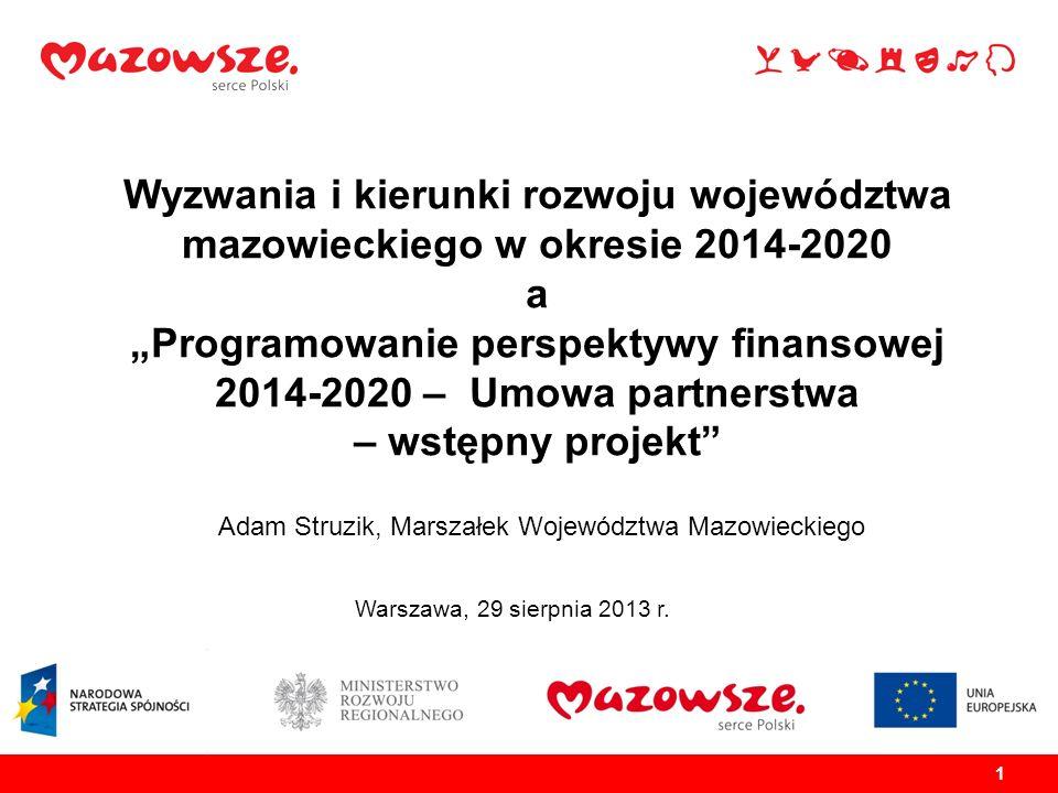 1 1 Wyzwania i kierunki rozwoju województwa mazowieckiego w okresie 2014-2020 a Programowanie perspektywy finansowej 2014-2020 – Umowa partnerstwa – w