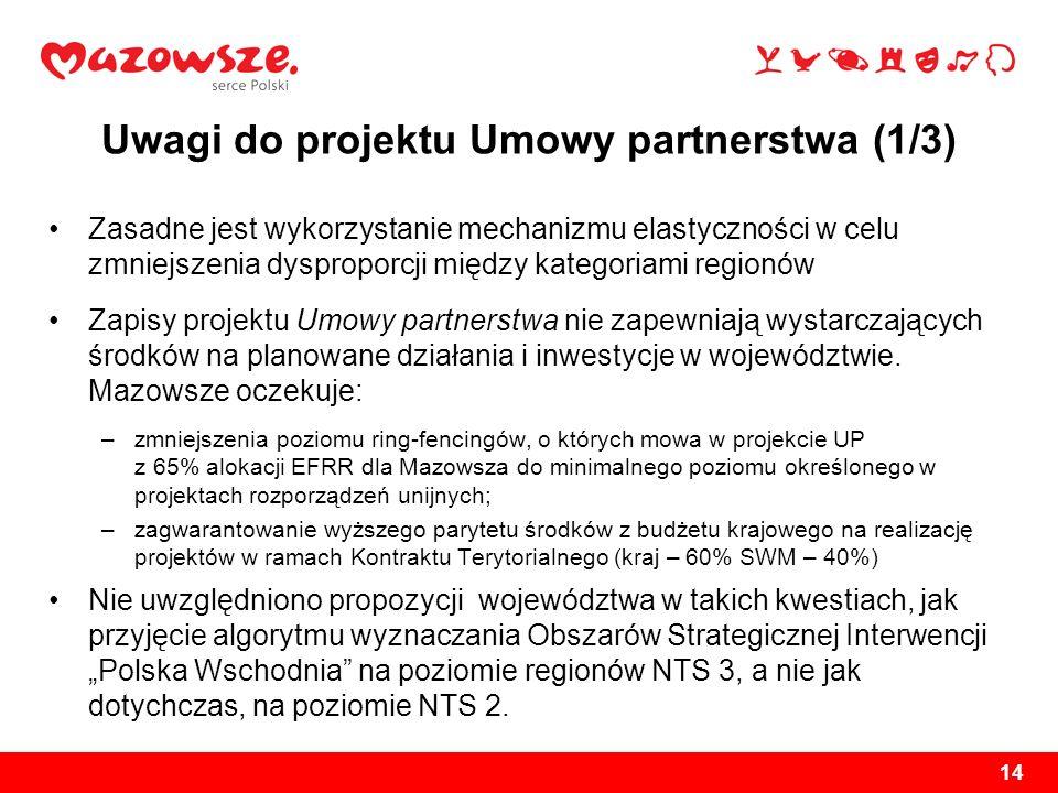 Uwagi do projektu Umowy partnerstwa (1/3) Zasadne jest wykorzystanie mechanizmu elastyczności w celu zmniejszenia dysproporcji między kategoriami regi
