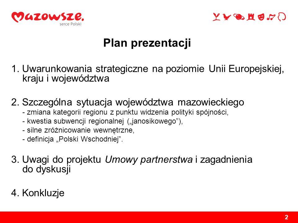 2 Plan prezentacji 1. Uwarunkowania strategiczne na poziomie Unii Europejskiej, kraju i województwa 2. Szczególna sytuacja województwa mazowieckiego -