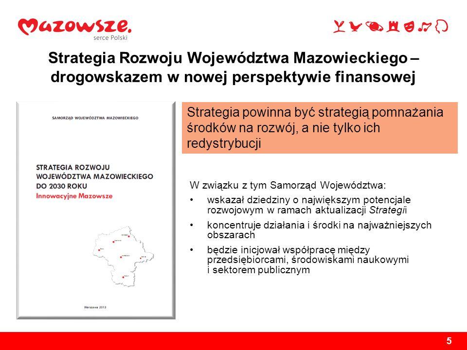 5 Strategia Rozwoju Województwa Mazowieckiego – drogowskazem w nowej perspektywie finansowej W związku z tym Samorząd Województwa: wskazał dziedziny o