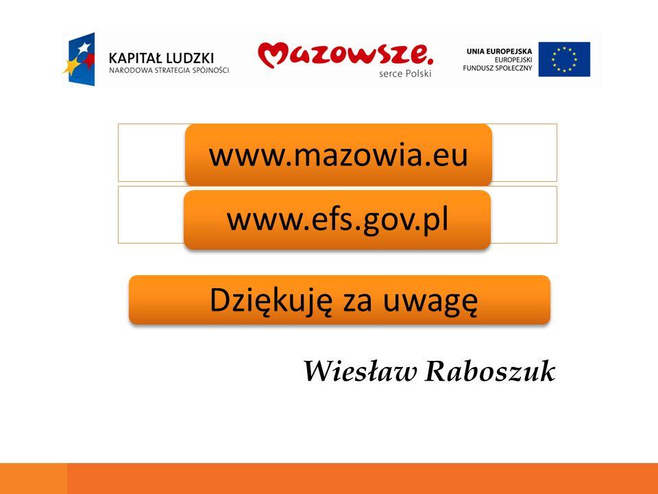 www.mazowia.eu www.efs.gov.pl Dziękuję za uwagę Wiesław Raboszuk
