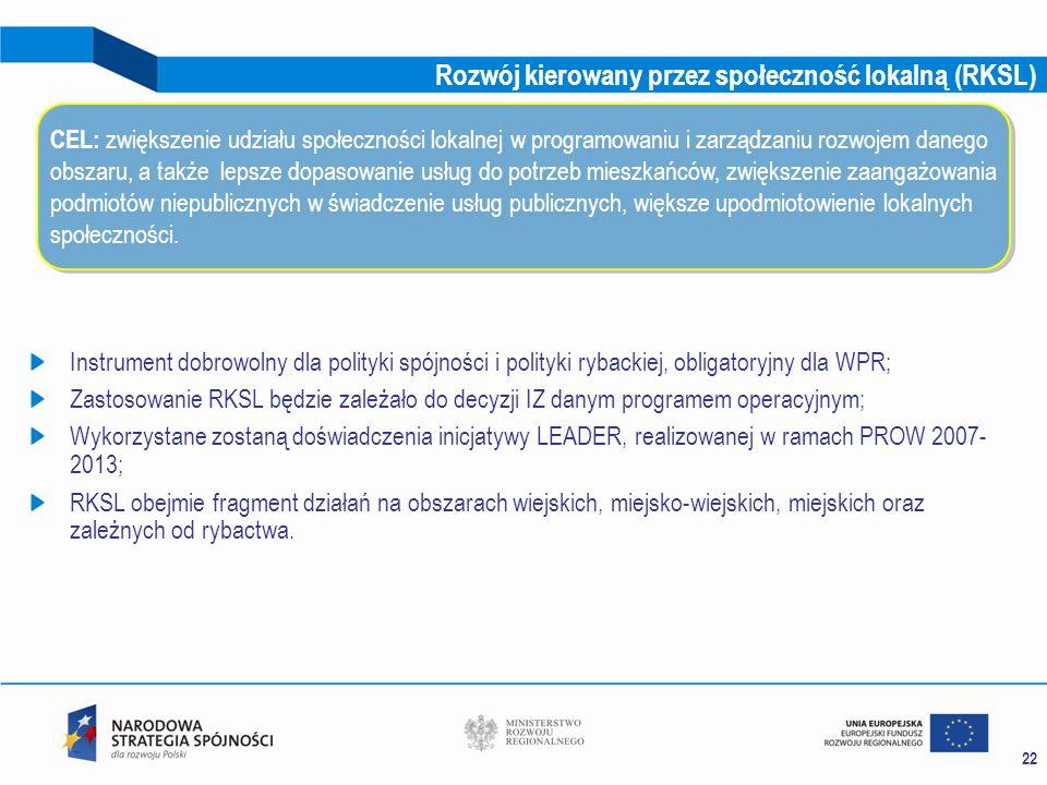22 Rozwój kierowany przez społeczność lokalną (RKSL) Instrument dobrowolny dla polityki spójności i polityki rybackiej, obligatoryjny dla WPR; Zastoso