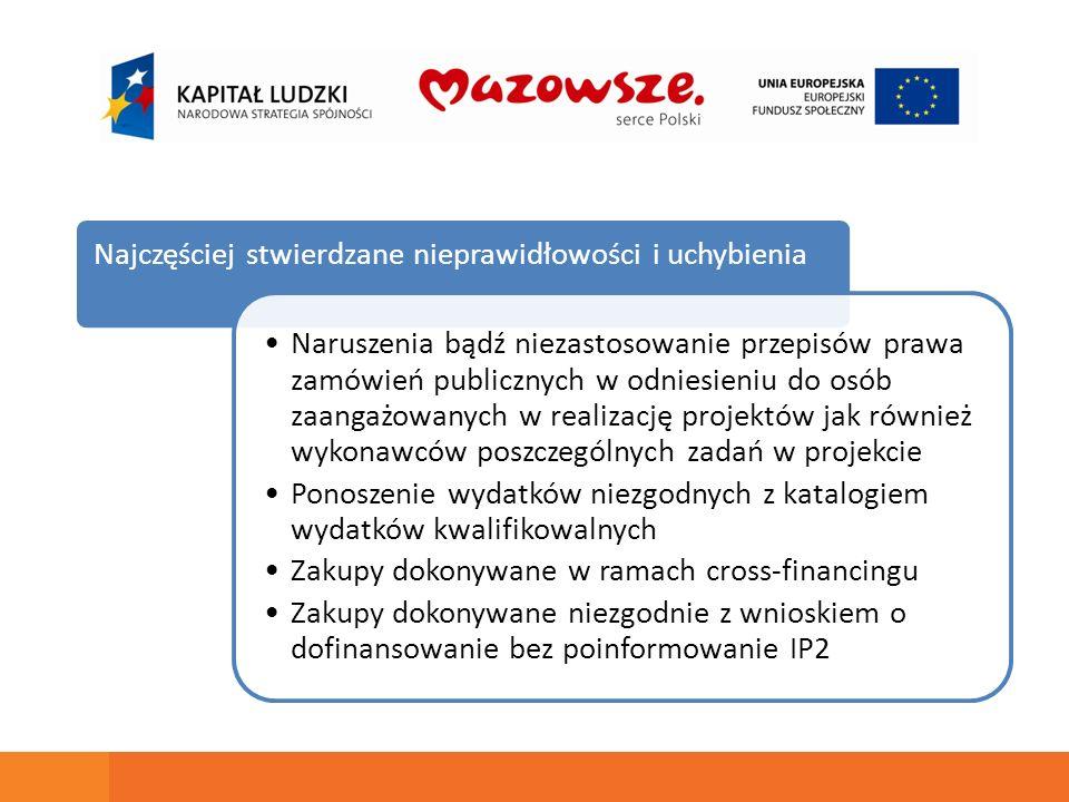 Najczęściej stwierdzane nieprawidłowości i uchybienia Naruszenia bądź niezastosowanie przepisów prawa zamówień publicznych w odniesieniu do osób zaang