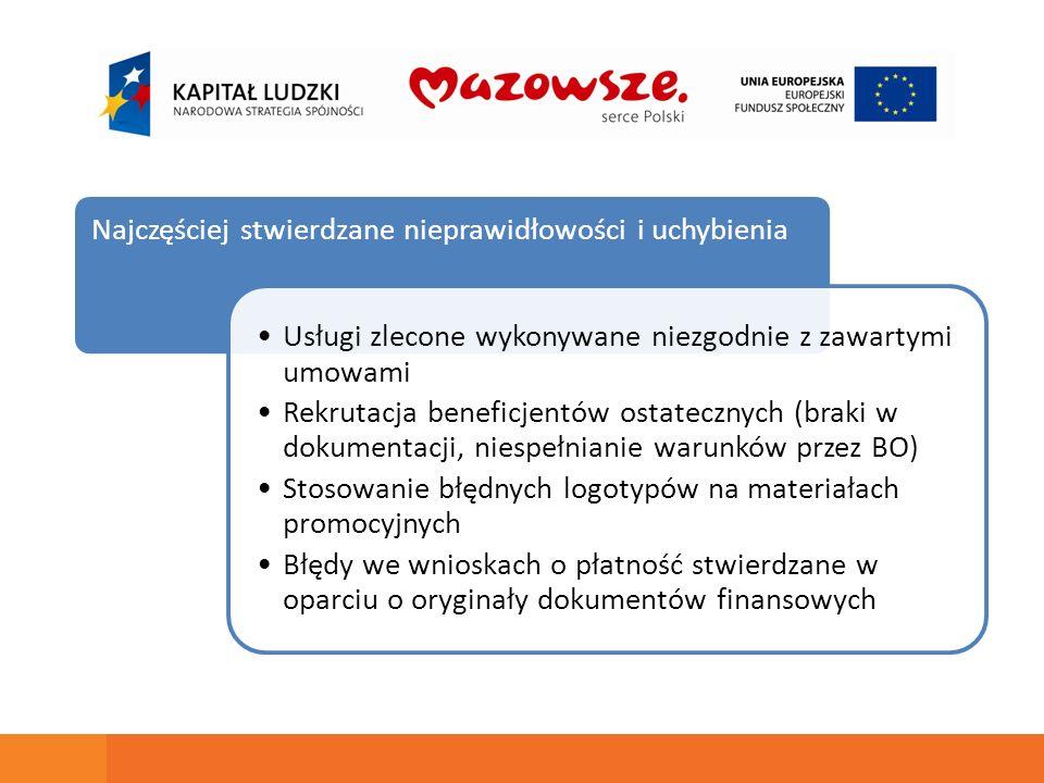 Najczęściej stwierdzane nieprawidłowości i uchybienia Usługi zlecone wykonywane niezgodnie z zawartymi umowami Rekrutacja beneficjentów ostatecznych (