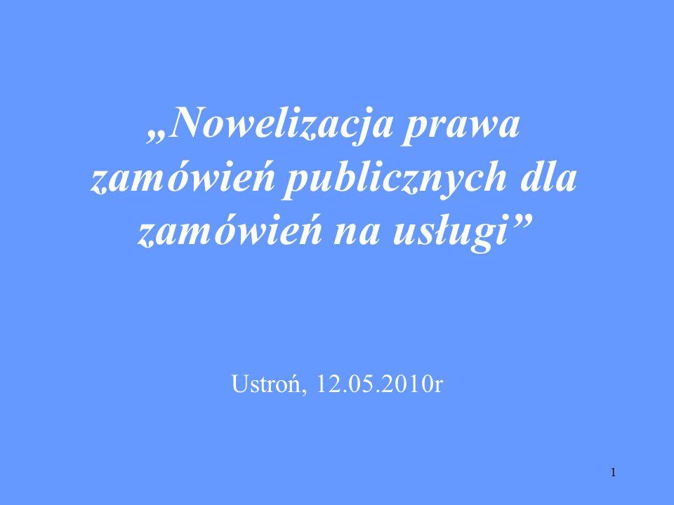 1 Nowelizacja prawa zamówień publicznych dla zamówień na usługi Ustroń, 12.05.2010r