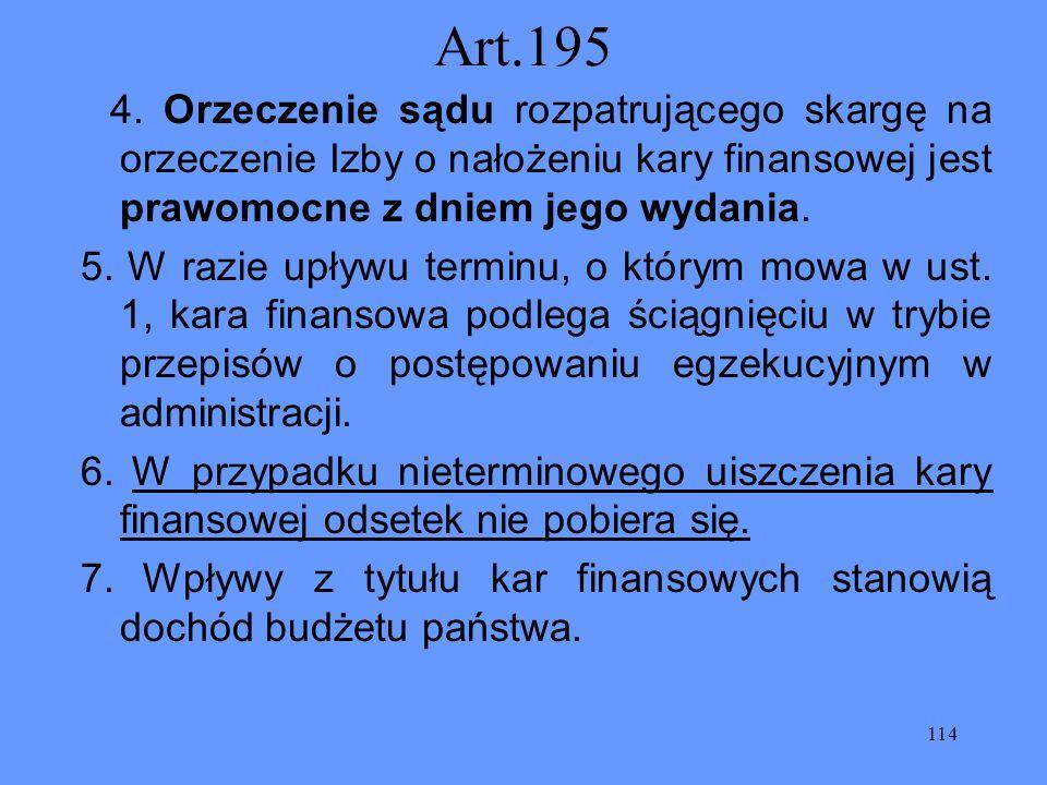 114 Art.195 4. Orzeczenie sądu rozpatrującego skargę na orzeczenie Izby o nałożeniu kary finansowej jest prawomocne z dniem jego wydania. 5. W razie u