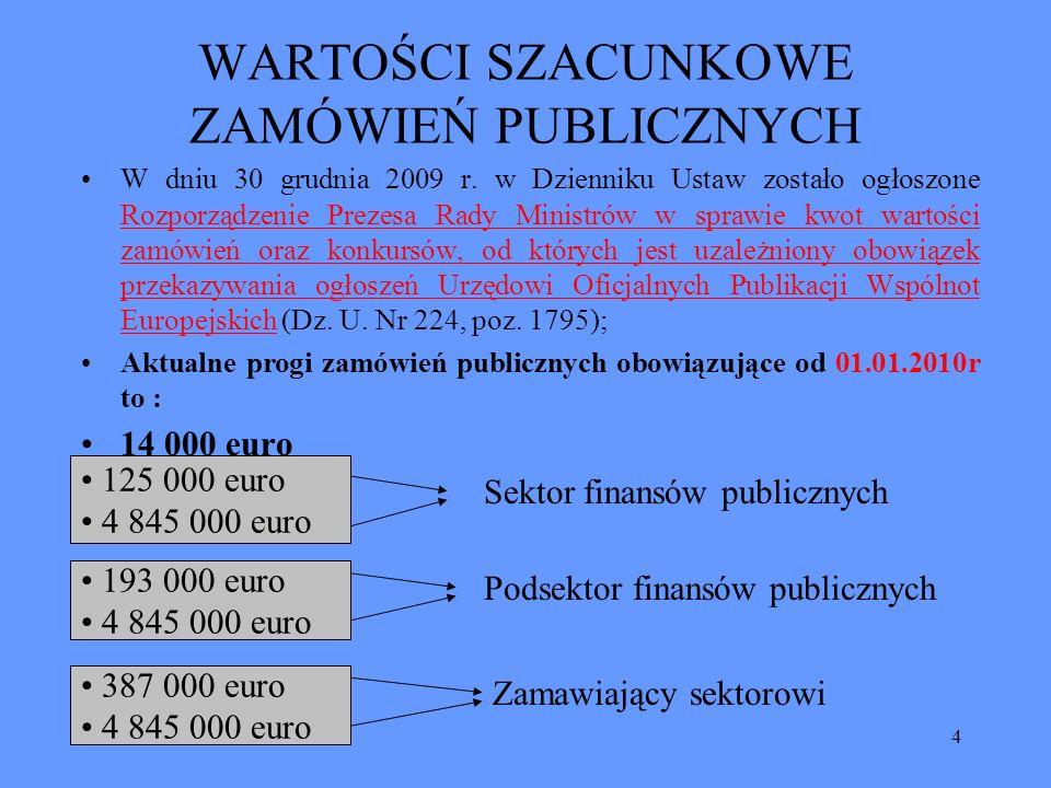 4 WARTOŚCI SZACUNKOWE ZAMÓWIEŃ PUBLICZNYCH W dniu 30 grudnia 2009 r. w Dzienniku Ustaw zostało ogłoszone Rozporządzenie Prezesa Rady Ministrów w spraw