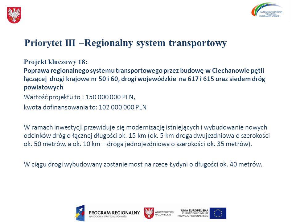 Priorytet III – Regionalny system transportowy Projekt kluczowy 18: Poprawa regionalnego systemu transportowego przez budowę w Ciechanowie pętli łączą