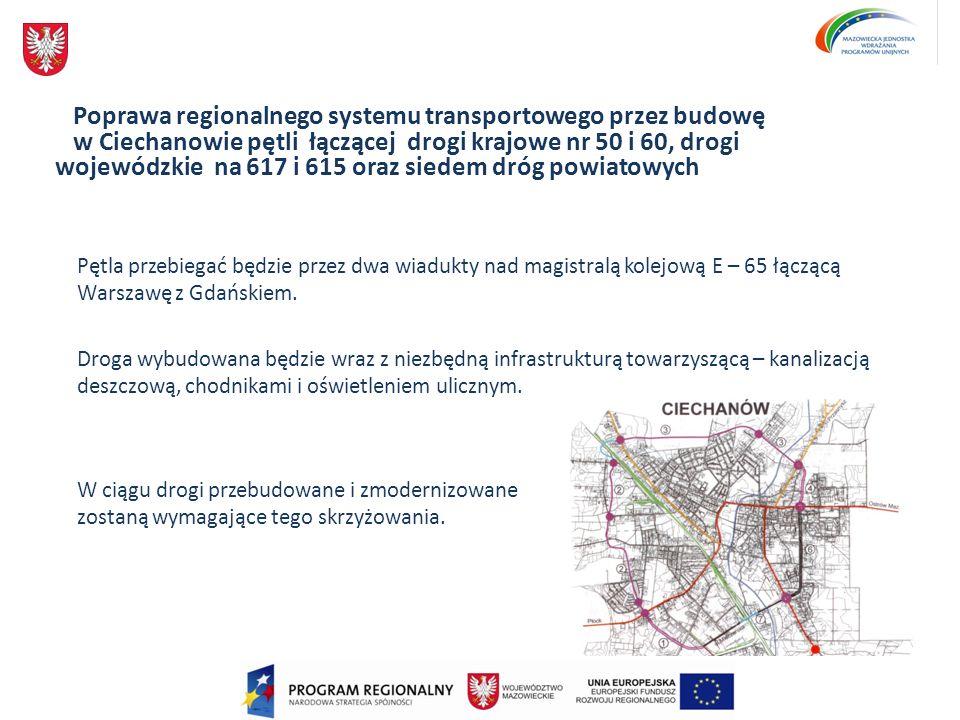 Poprawa regionalnego systemu transportowego przez budowę w Ciechanowie pętli łączącej drogi krajowe nr 50 i 60, drogi wojewódzkie na 617 i 615 oraz si