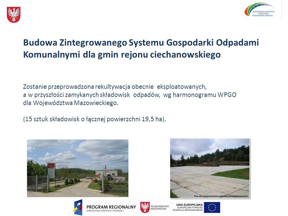 Budowa Zintegrowanego Systemu Gospodarki Odpadami Komunalnymi dla gmin rejonu ciechanowskiego Zostanie przeprowadzona rekultywacja obecnie eksploatowa