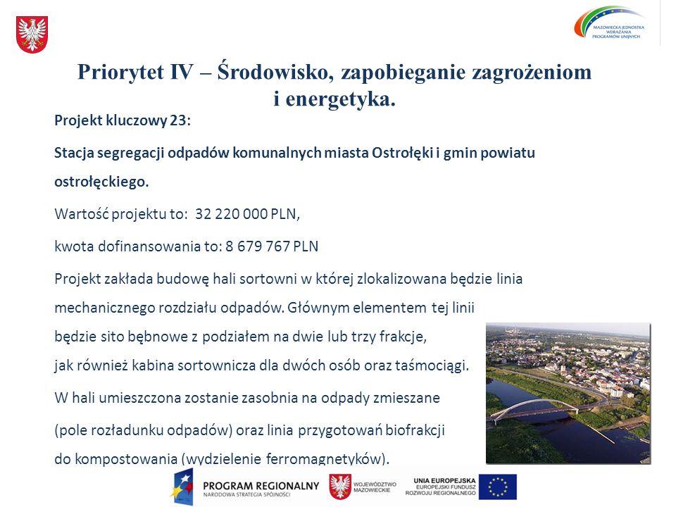 Priorytet IV – Środowisko, zapobieganie zagrożeniom i energetyka. Projekt kluczowy 23: Stacja segregacji odpadów komunalnych miasta Ostrołęki i gmin p