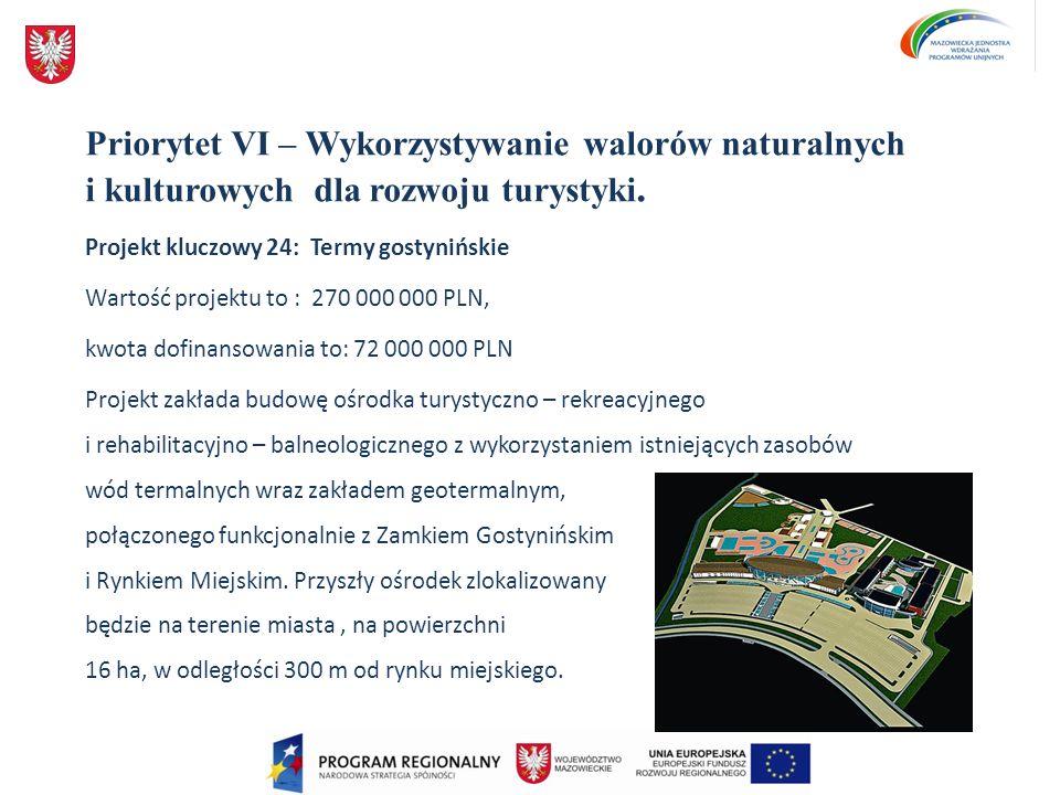 Priorytet VI – Wykorzystywanie walorów naturalnych i kulturowych dla rozwoju turystyki. Projekt kluczowy 24: Termy gostynińskie Wartość projektu to :