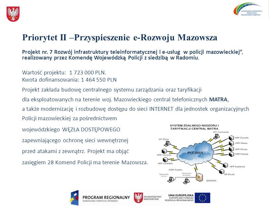 Priorytet II –Przyspieszenie e-Rozwoju Mazowsza Projekt nr. 7 Rozwój infrastruktury teleinformatycznej i e-usług w policji mazowieckiej, realizowany p