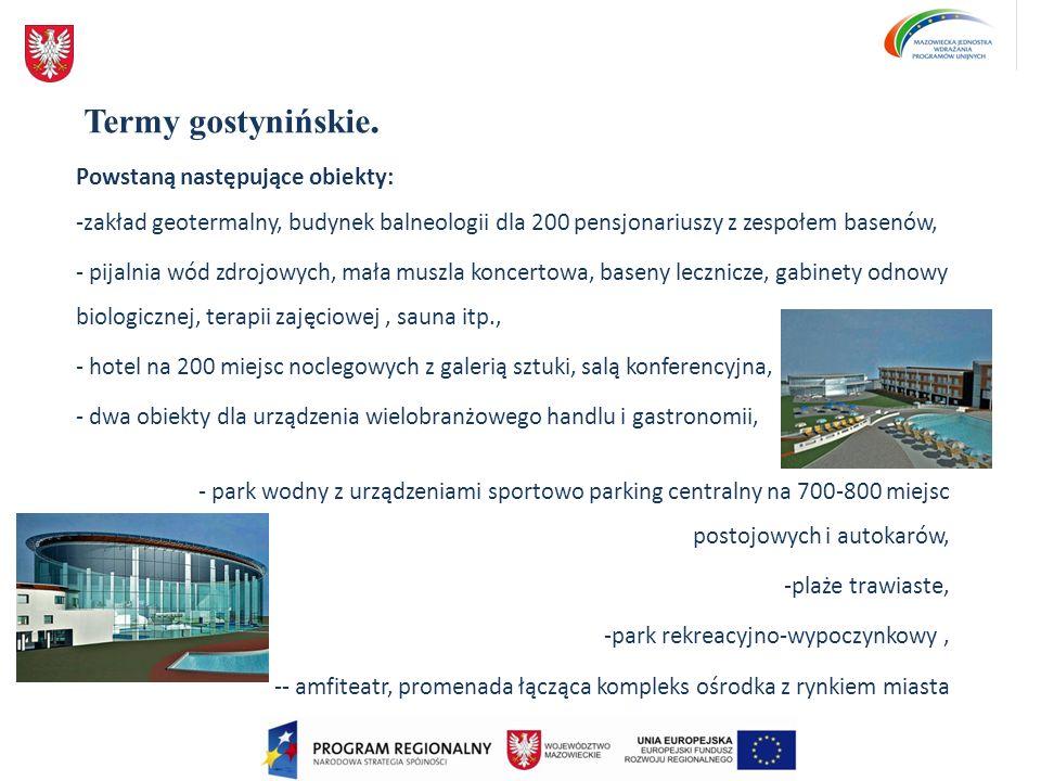 Termy gostynińskie. Powstaną następujące obiekty: -zakład geotermalny, budynek balneologii dla 200 pensjonariuszy z zespołem basenów, - pijalnia wód z