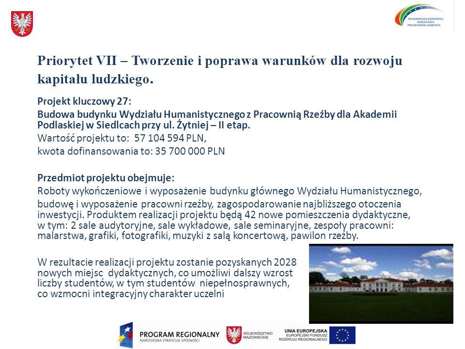 Priorytet VII – Tworzenie i poprawa warunków dla rozwoju kapitału ludzkiego. Projekt kluczowy 27: Budowa budynku Wydziału Humanistycznego z Pracownią