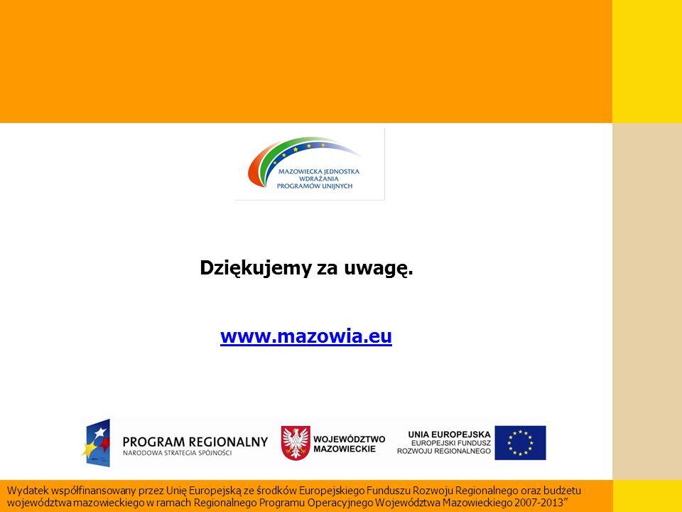 Wydatek współfinansowany przez Unię Europejską ze środków Europejskiego Funduszu Rozwoju Regionalnego oraz budżetu województwa mazowieckiego w ramach
