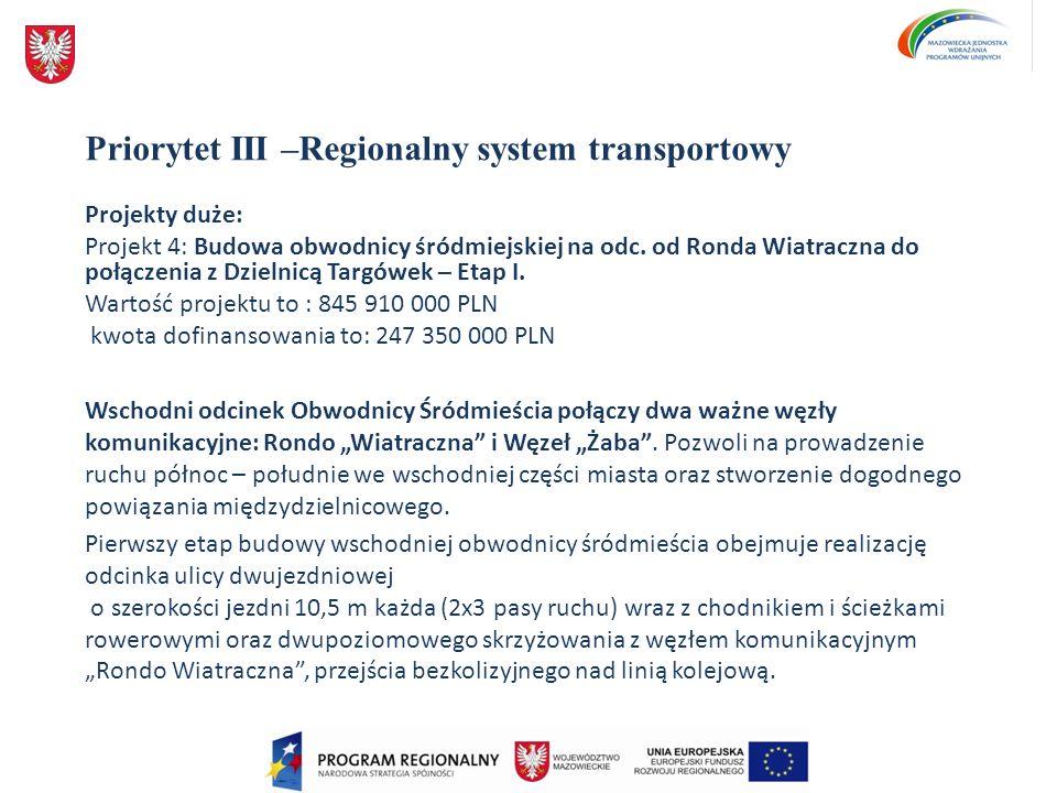 Priorytet III –Regionalny system transportowy Projekty duże: Projekt 4: Budowa obwodnicy śródmiejskiej na odc. od Ronda Wiatraczna do połączenia z Dzi