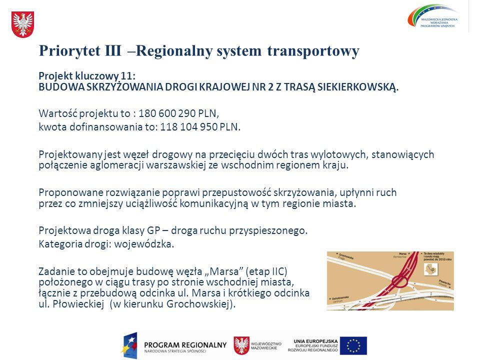 Priorytet III –Regionalny system transportowy Projekt kluczowy 11: BUDOWA SKRZYŻOWANIA DROGI KRAJOWEJ NR 2 Z TRASĄ SIEKIERKOWSKĄ. Wartość projektu to