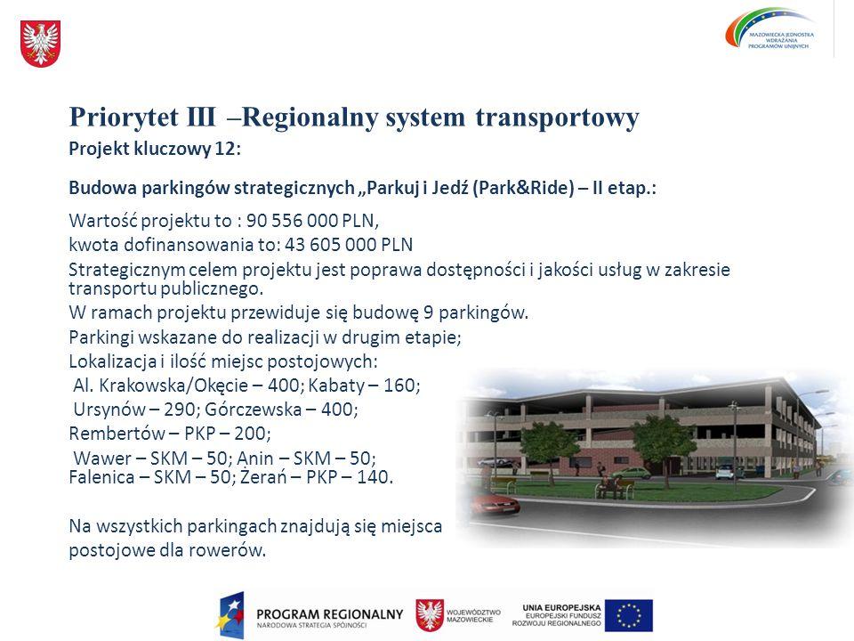 Priorytet III –Regionalny system transportowy Projekt kluczowy 12: Budowa parkingów strategicznych Parkuj i Jedź (Park&Ride) – II etap.: Wartość proje