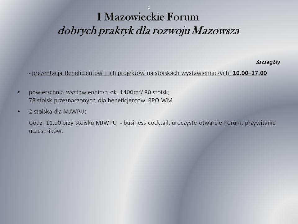 I Mazowieckie Forum dobrych praktyk dla rozwoju Mazowsza Szczegóły - prezentacja Beneficjentów i ich projektów na stoiskach wystawienniczych: 10.00–17.00 powierzchnia wystawiennicza ok.