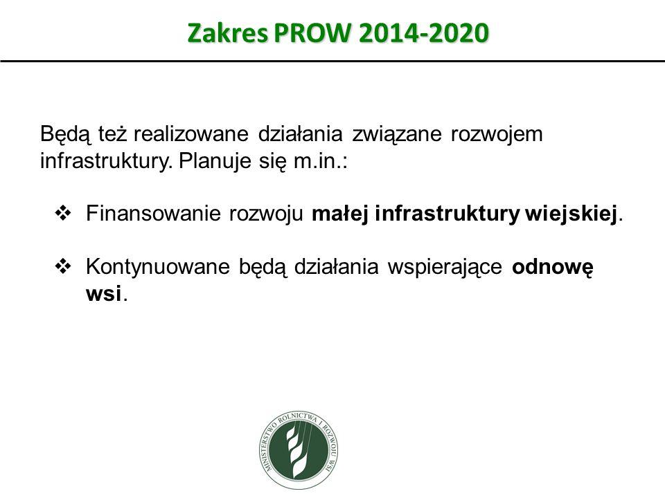 Zakres PROW 2014-2020 Będą też realizowane działania związane rozwojem infrastruktury. Planuje się m.in.: Finansowanie rozwoju małej infrastruktury wi