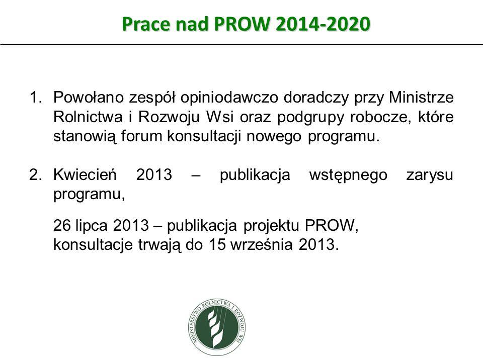 Prace nad PROW 2014-2020 1.Powołano zespół opiniodawczo doradczy przy Ministrze Rolnictwa i Rozwoju Wsi oraz podgrupy robocze, które stanowią forum ko