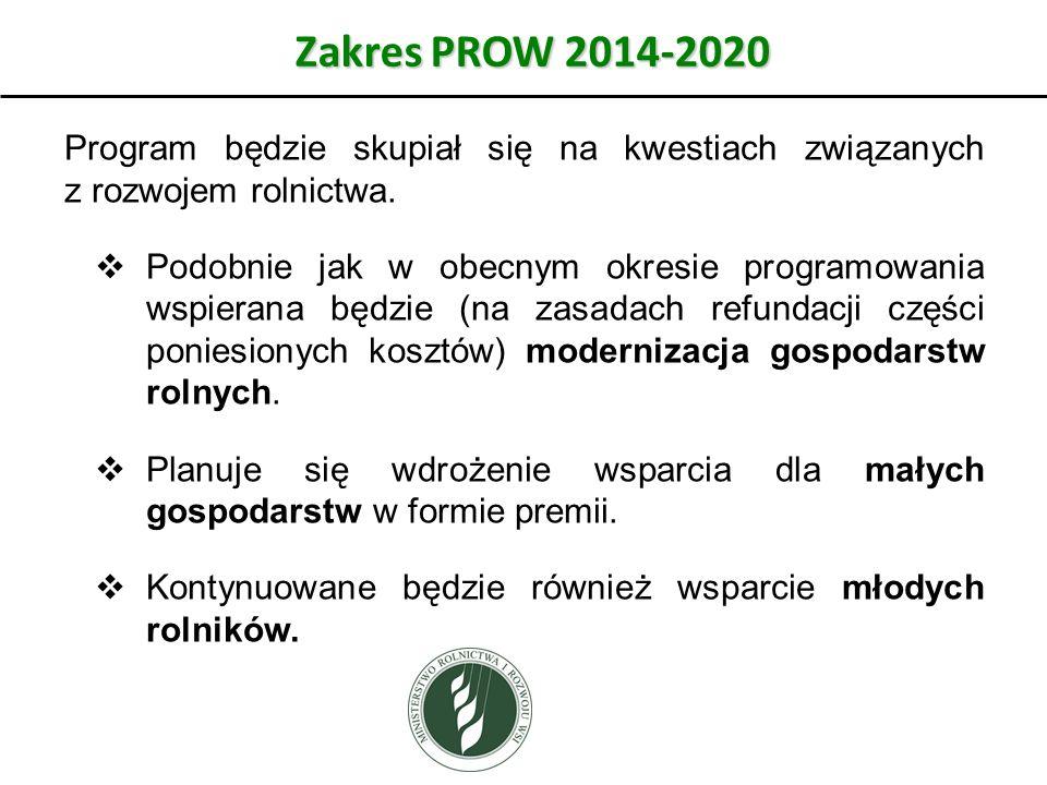 Zakres PROW 2014-2020 Program będzie skupiał się na kwestiach związanych z rozwojem rolnictwa. Podobnie jak w obecnym okresie programowania wspierana