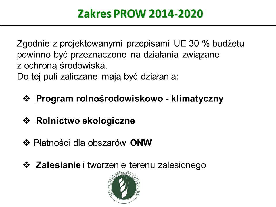 Zakres PROW 2014-2020 Zgodnie z projektowanymi przepisami UE 30 % budżetu powinno być przeznaczone na działania związane z ochroną środowiska. Do tej