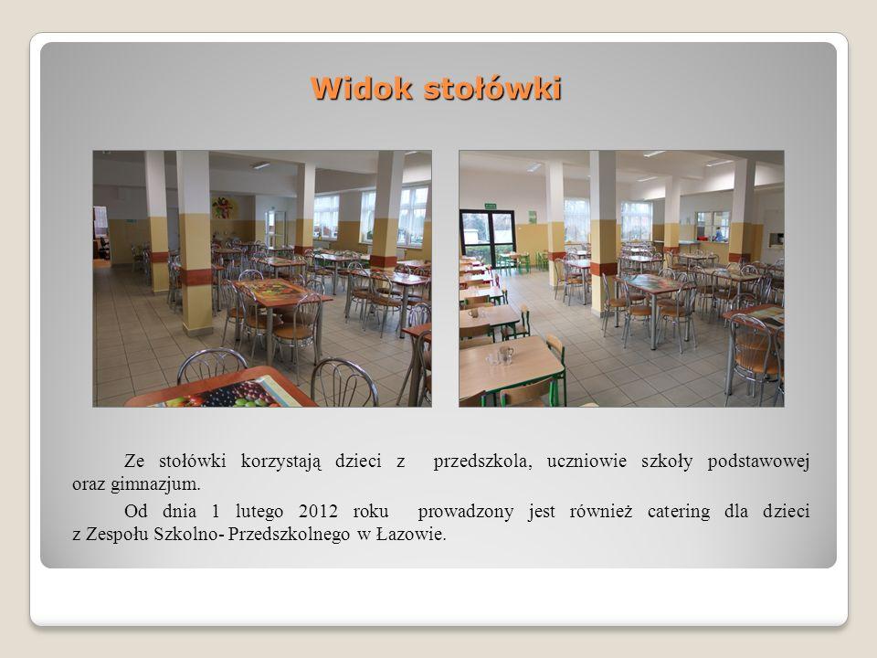 Widok stołówki Ze stołówki korzystają dzieci z przedszkola, uczniowie szkoły podstawowej oraz gimnazjum.