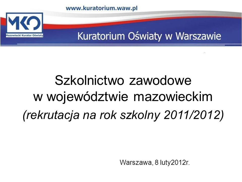 Szkolnictwo zawodowe w województwie mazowieckim (rekrutacja na rok szkolny 2011/2012) Warszawa, 8 luty2012r.