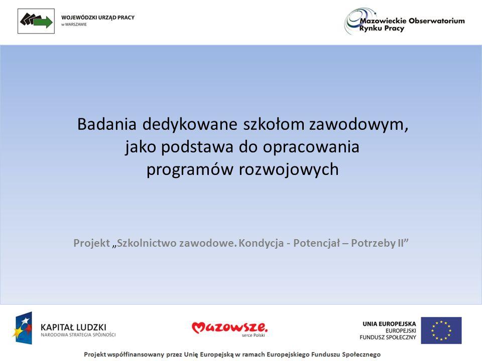 Badania dedykowane szkołom zawodowym, jako podstawa do opracowania programów rozwojowych Projekt Szkolnictwo zawodowe. Kondycja - Potencjał – Potrzeby